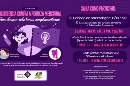 Cursos de Jornalismo e Publicidade e Propaganda realizam campanha contra a pobreza menstrual